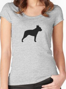 Boston Terrier Silhouette(s) Women's Fitted Scoop T-Shirt