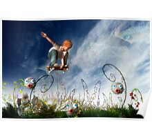 Skateboarder and friends Poster