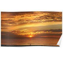 Beach Sunset at Largs Bay South Australia Poster