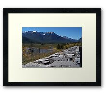 stone wall to mountains Framed Print