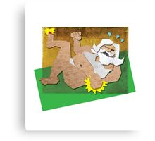 ANGRY, SEMI-NAKED SANTA WITH A SORE TOE Canvas Print