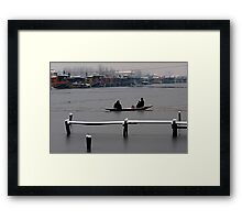 Dal Lake and Snow Fall Framed Print