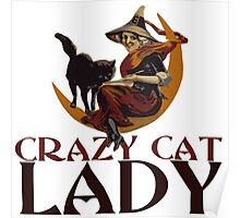 Crazy Cat Lady vintage halloween Poster