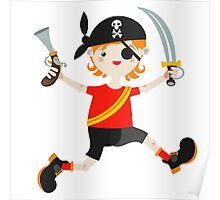Kid role game playing as a pirate. Poster