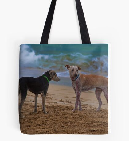 Panama. Bocas del Toro. Red Frog Beach. Two dogs. Tote Bag