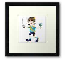 Boy role game playing as a prince. Framed Print