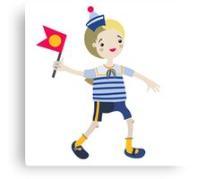 Boy role game playing as a sailor. Canvas Print
