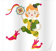 Boy role game playing as a clown. Poster