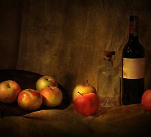 Still life with apples and bottles by JBlaminsky