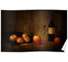 Still life with apples and bottles Poster