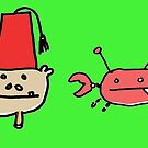 Monkey Fez and Crabby Greeting Card of Underwater Shenanigans and Felt by Ollie Brock