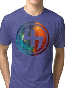 47 ORANGE AND BLUE NEBULA CIRCLE Tri-blend T-Shirt