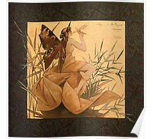 Alexandre de Riquer Composition with winged nymph blowing amongst reeds Poster