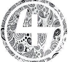 47 WHITE GANGSTER BANDANA PATTERN CIRCLE by SourKid