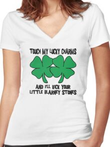 Touch My Lucky Charms Women's Fitted V-Neck T-Shirt