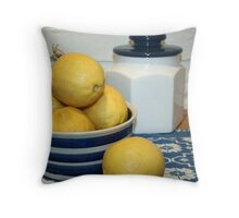 Lemons & Blue and White China Throw Pillow