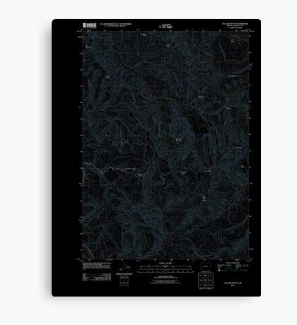 USGS Topo Map Oregon Yellow Butte 20110824 TM Inverted Canvas Print