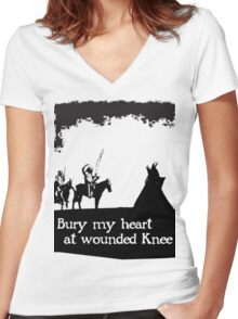 CANKPE OPI WAKPALA / WOUNDED KNEE Women's Fitted V-Neck T-Shirt
