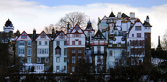 Ramsay Gardens at dusk, Edinburgh by Linda More
