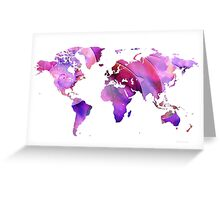World Map 20 Pink and Purple by Sharon Cummings Greeting Card