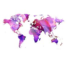 World Map 20 Pink and Purple by Sharon Cummings Photographic Print