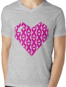 Breast Cancer Love n Support Mens V-Neck T-Shirt