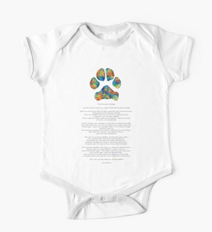 Rainbow Bridge Poem With Colorful Paw Print by Sharon Cummings One Piece - Short Sleeve