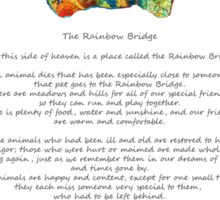Rainbow Bridge Poem With Colorful Paw Print by Sharon Cummings Sticker