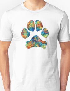 Colorful Dog Paw Print by Sharon Cummings Unisex T-Shirt