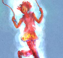 Girl Skipping Rope -- On Blue with Corona by Azellah