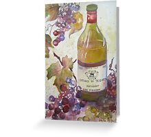 Grapes and Wine Bottle Greeting Card