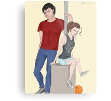 Modern AU Arya and Gendry Metal Print