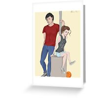 Modern AU Arya and Gendry Greeting Card