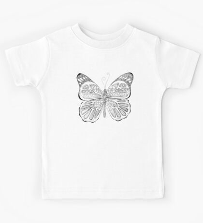 patterned butterfly ink drawing Kids Tee