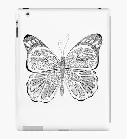 patterned butterfly ink drawing iPad Case/Skin