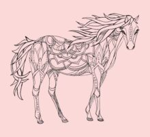 Patterned horse ink drawing One Piece - Long Sleeve