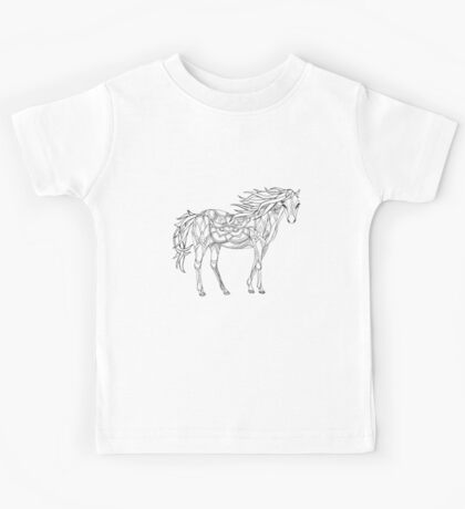 Patterned horse ink drawing Kids Tee