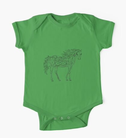 Patterned horse ink drawing One Piece - Short Sleeve