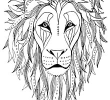 patterned lion ink drawing by AmandaRuthArt