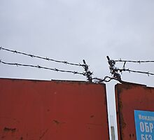 Rusty red gate topped by barbed wire by BSBenev