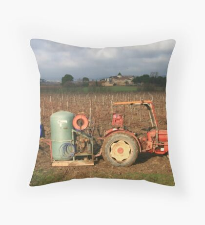 Pruning the vines near Capestang France Throw Pillow