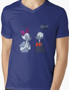 Accented Donald and Daisy  Mens V-Neck T-Shirt