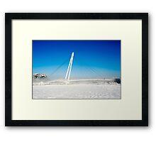 Footbridge across river Framed Print