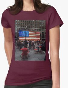 American Flag- Times Square Womens Fitted T-Shirt