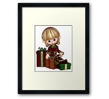 Cute Toon Christmas Elf with Presents Framed Print