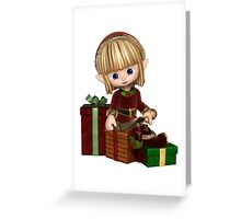Cute Toon Christmas Elf with Presents Greeting Card