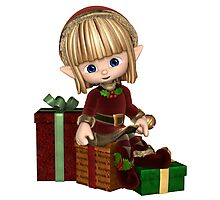 Cute Toon Christmas Elf with Presents Photographic Print