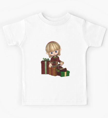 Cute Toon Christmas Elf with Presents Kids Tee