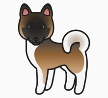 Brown With Black Mask Akita Dog Cartoon by destei