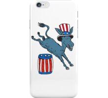 Democrat Donkey Mascot Jumping Over Barrel Cartoon iPhone Case/Skin